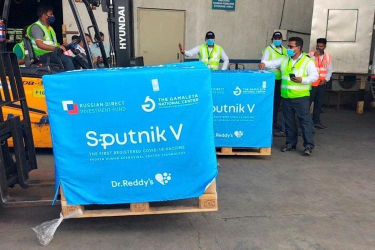 Second consignment of Sputnik V vaccine arrives at Hyderabad boxes have sputnik and dr reddys logo