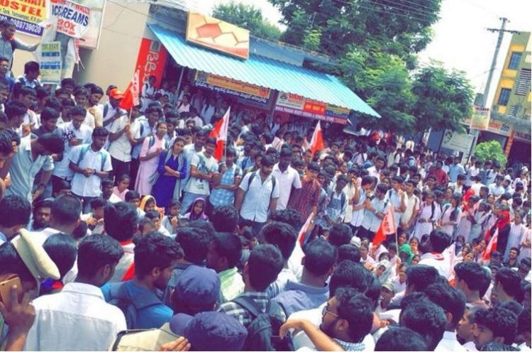 Cant increase it when matter is in court Protest against Hyd college for fee hike