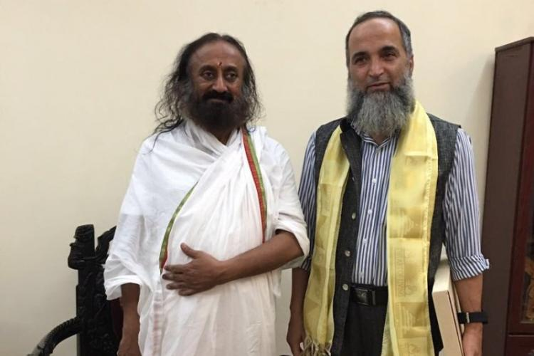 Sri Sri meets Burhan Wanis father at his ashram discusses several issues