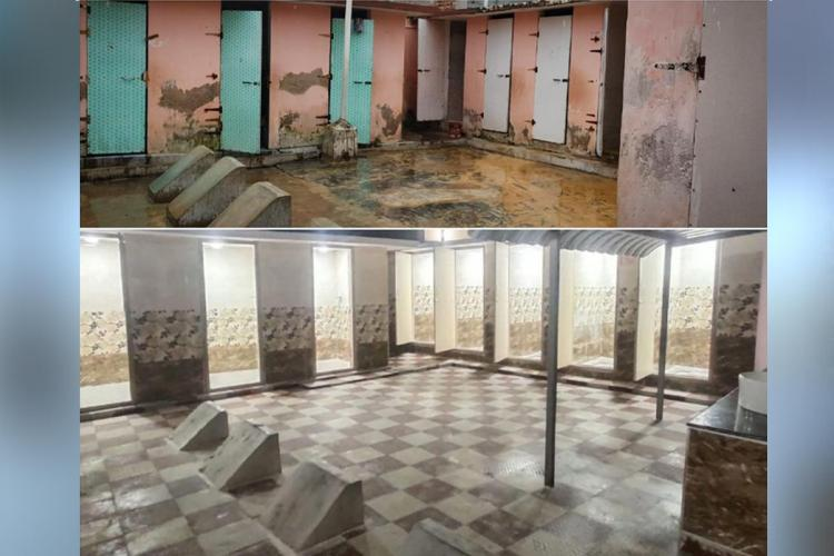 A collage of the toilets before and after the facelift