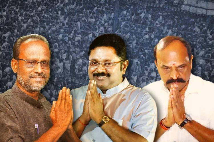 A collage of CPI(M)'s Srinivasan, AMMK's TTV Dhinakaran and AIADMK's Kadambur Raju who are candidates in Kovilpatti