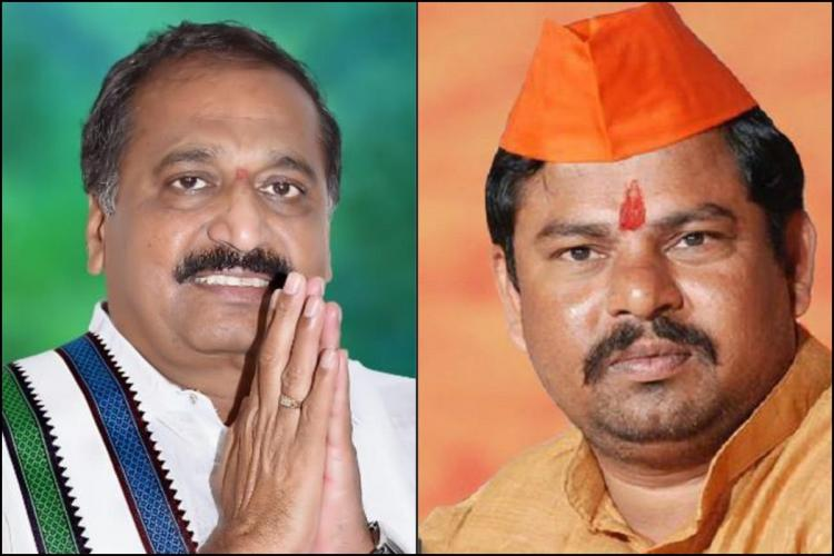 YSRCP MLA from Srisailam Silpa Chakrapani Reddy on the left with folded hands and YSRCP party cloth BJP MLA from Goshamahal Raja Singh on the right with saffron cap