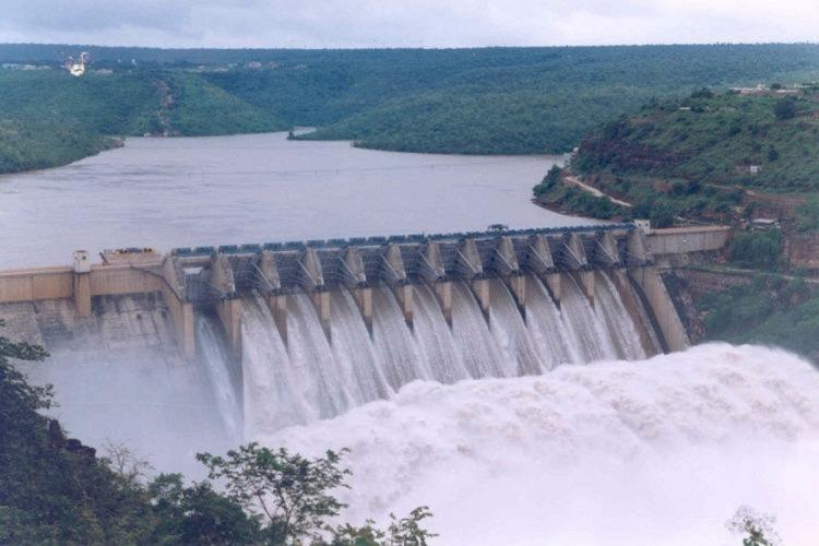 Srisailam Dam with water overflowing