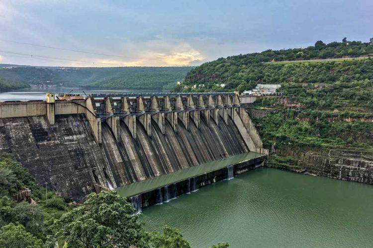 The Srisailam dam on the Krishna river between Telangana and Andhra Pradesh