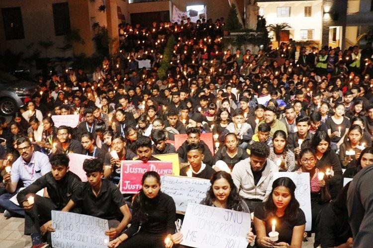 JNU Violence Bengalurus St Josephs College students hold candle light vigil
