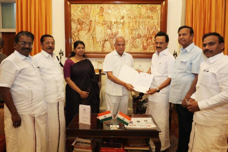 Ask TN CM EPS to resign DMK tells Governor Banwarilal on Kodanad murder case
