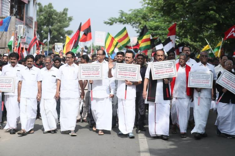 DMK allies stage rally in Chennai warn of more protests if CAA not repealed