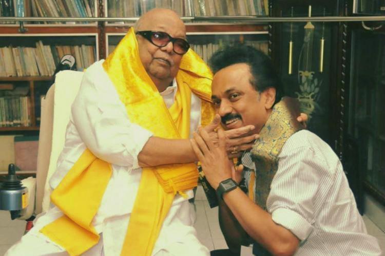 Former Tamil Nadu Chief Minister Karunanidhi and Tamil Nadu Chief Minister MK Stalin