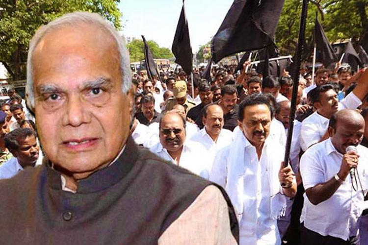TN Governor Banwarilal Purohit face with DMK leader MK Stalin protests in background