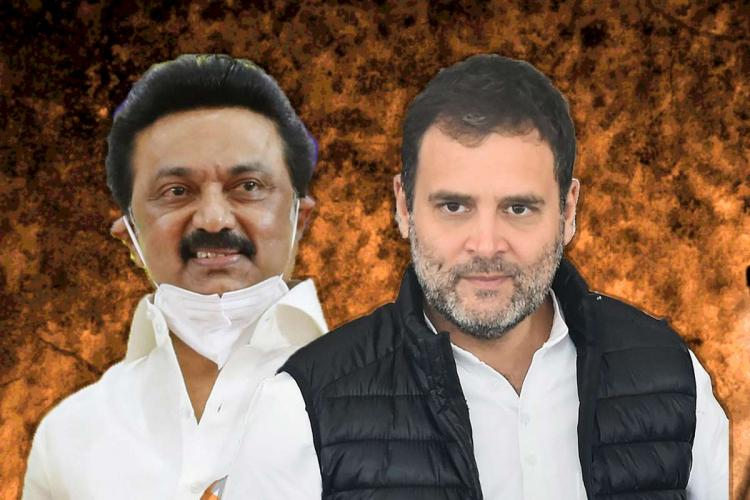 A pic that shows MK Stalin in a white shirt wearing a mask and Rahul Gandhi wearing a white shirt and a black sleeveless jacket