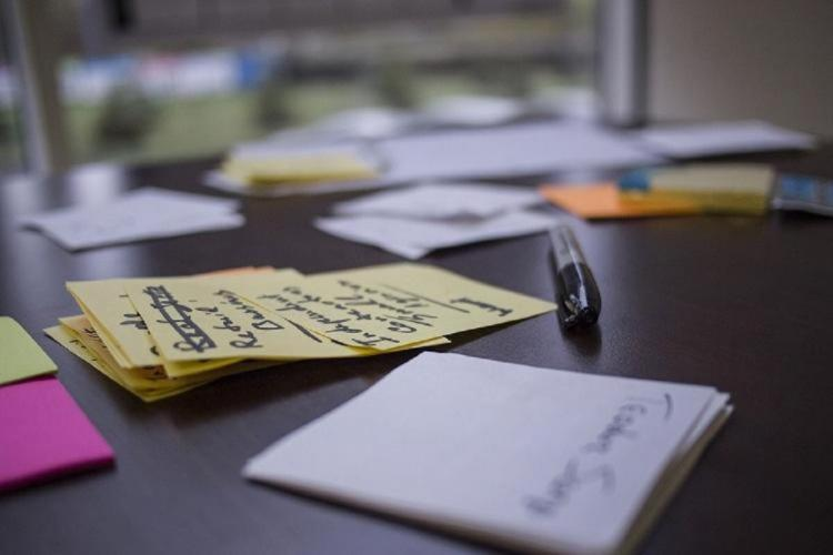 Notes lying on table