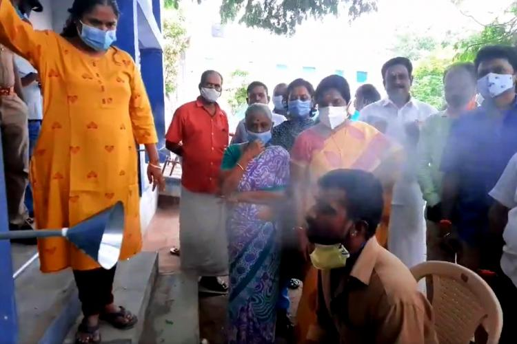 Vanathi Srinivasan at a steam inhalation facility in Coimbatore