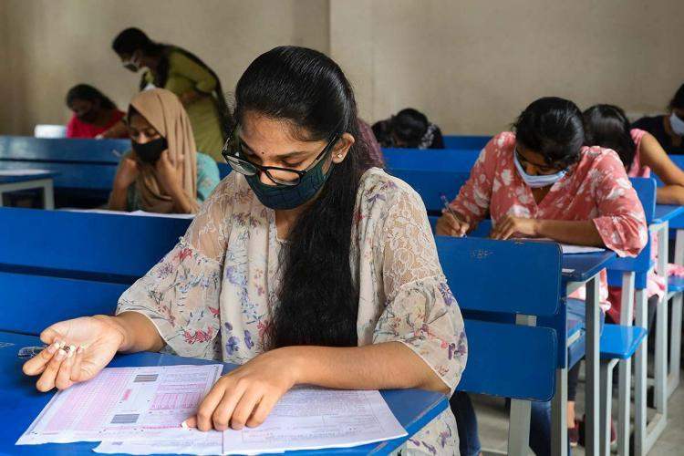 Students attending exams
