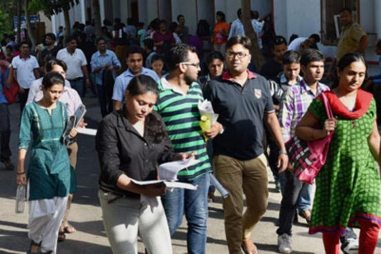Students seen coming out of a center in groups