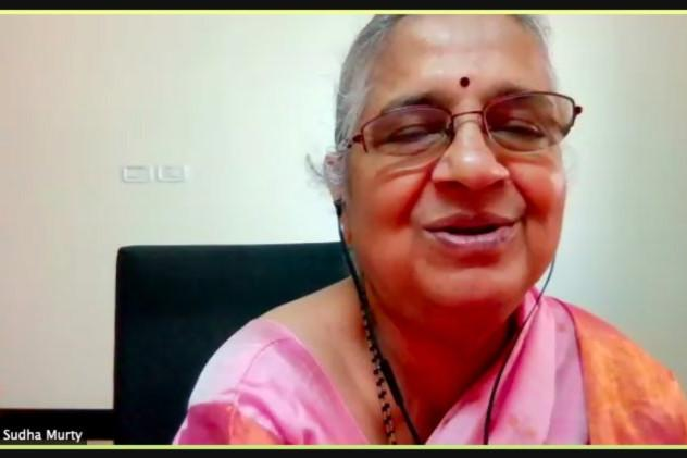 Sudha Murtys picture in a pink saree from Bangalore Literature Fest
