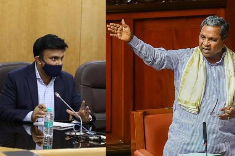 A collage of Karnataka Health Minister Dr K Sudhakar and former CM Siddaramaiah