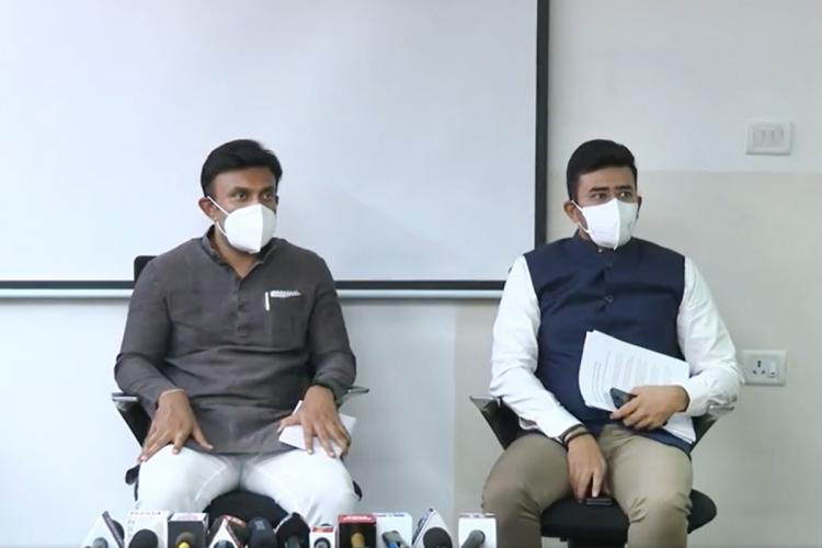 Karnataka Health Minister K Sudhakar with Bengaluru South MP Tejasvi Surya