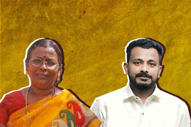 Sudharma in orange Sari and Dinuraj in white shirt and beard against a mustard background