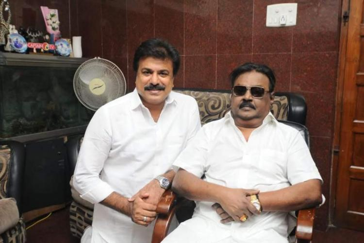 DMDK chief Vijayakanth along with partys deputy general secretary and his brother-in-law LK Sudhish