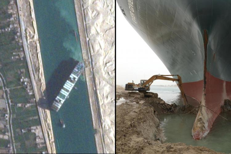 A collage of satellite image of the ship stuck in Suez Canal and the attempts to move the ship
