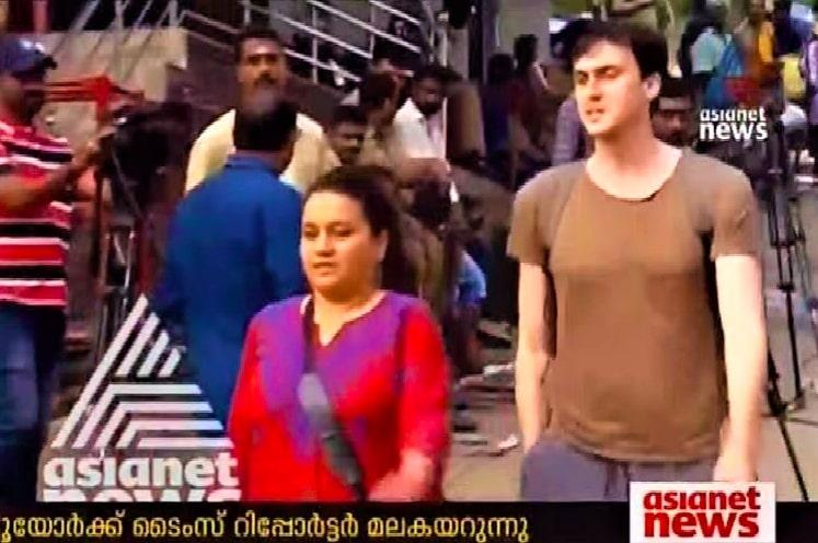 NYT journo Suhasini climbs up Sabarimala protesters stop her few kms from temple