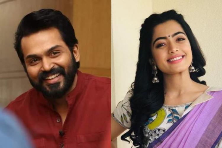 Collage of Karthi and Rashmika Mandanna