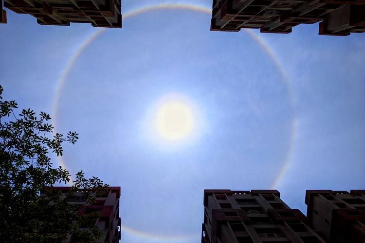 The sun with a halo as seen in Hyderabad