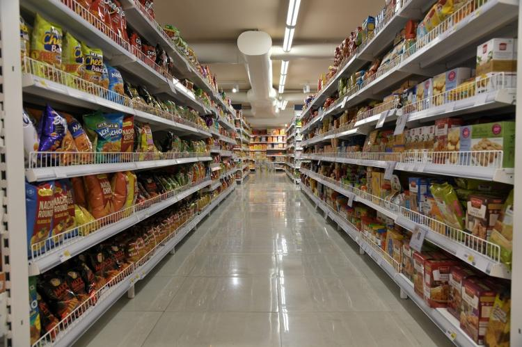 File photo of the biscuits section in a supermarket in India