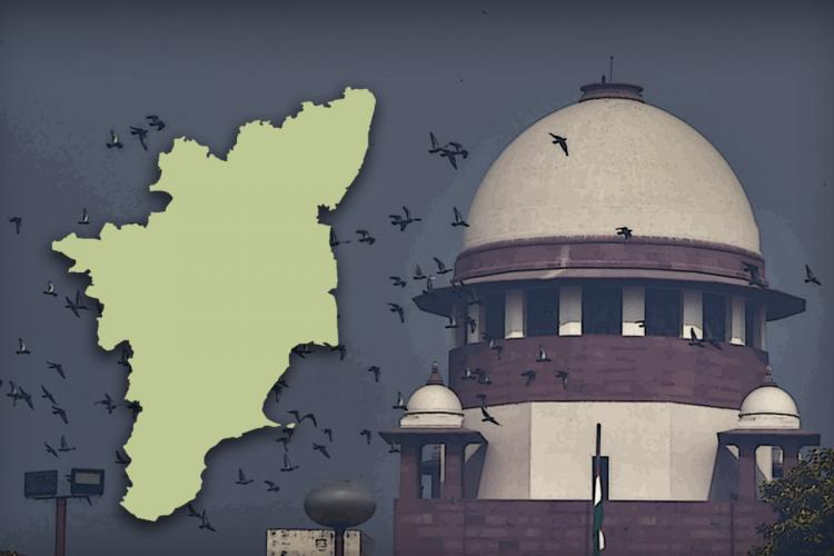 A stylised image of the Supreme Court next to a map of Tamil Nadu