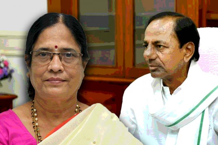A collage of CM KCR and Vani Devi
