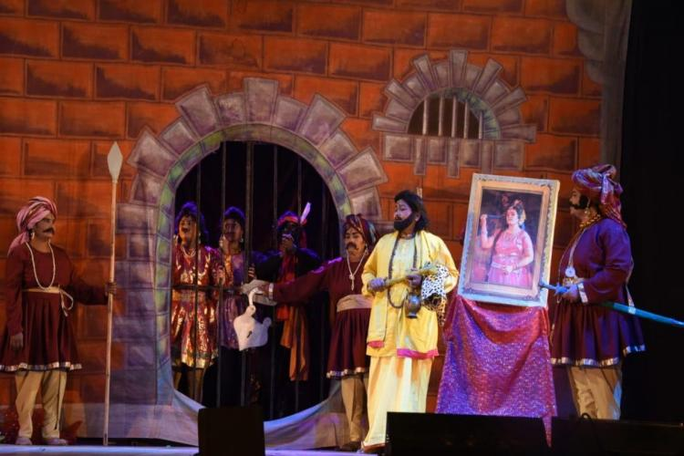 Surabhi theatre artists during a performance of a play