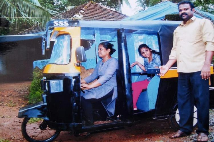 Sureshan Sneha and Saritha with the auto