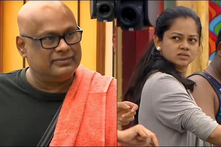 A collage of Bigg Boss Tamil season 4 contestants Suresh Chakravarthy and Anitha Sampath