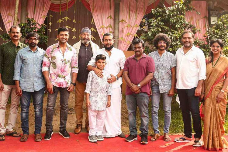 Suriya Vijayakumar Arun Vijay and others posing at the launch of new childrens film project starring Arun Vijays son Arnav
