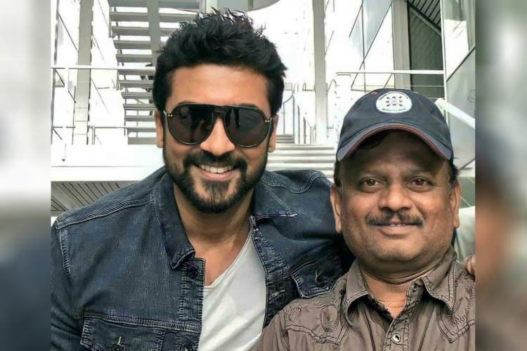 Actor Suriya is seen alongside late director KV Anand
