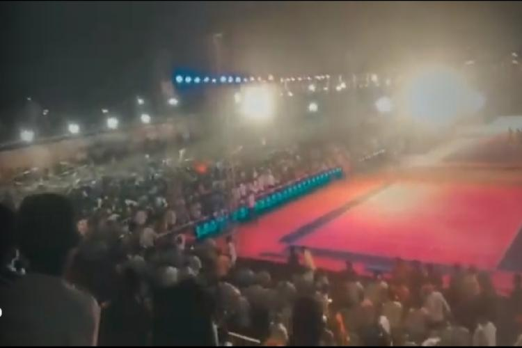 Part of a stadium collapsed at Suryapet during a Kabaddi tournament