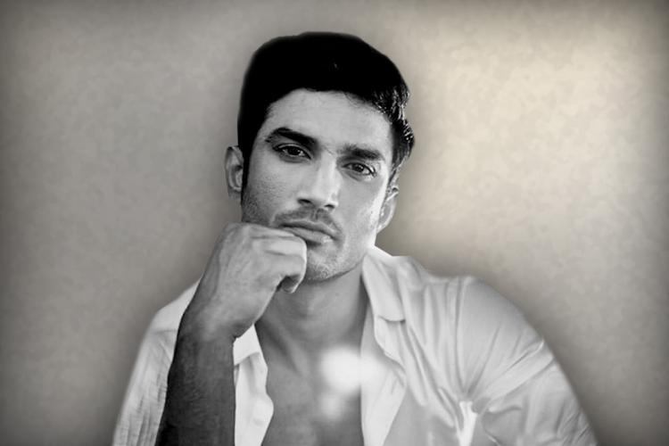 Sushant Singh Rajput close up in black and white