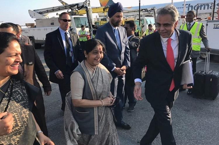 Minister of External Affairs Sushma Swaraj arrives in New York for UN General Assembly session