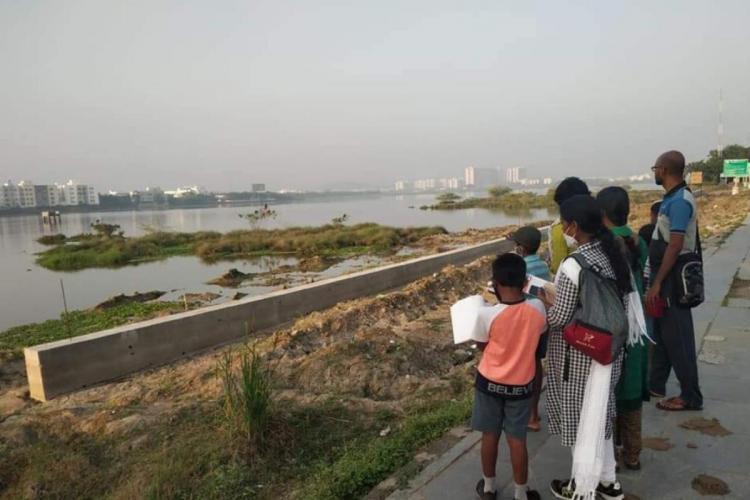 Participants during a walk conducted by Suzhal Arivom an environmental group at Pallikaranai