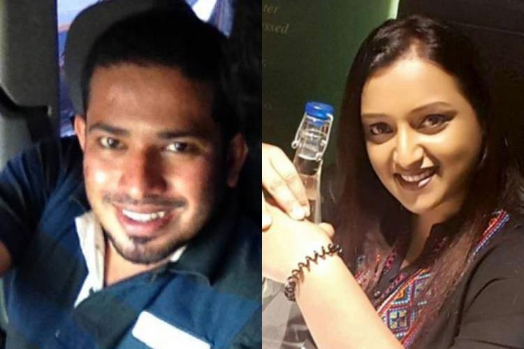 Collage of a man in a blue shirt smiling in a selfie and a woman smiling