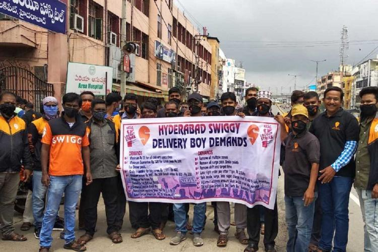 Swiggy delivery executives protesting in Hyderabad over new pay structure