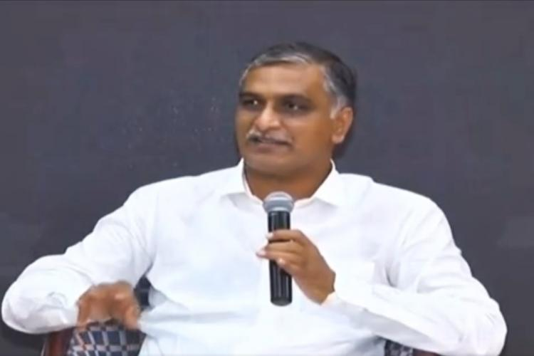 Telangana Minister T Harish Rao addressing a meeting