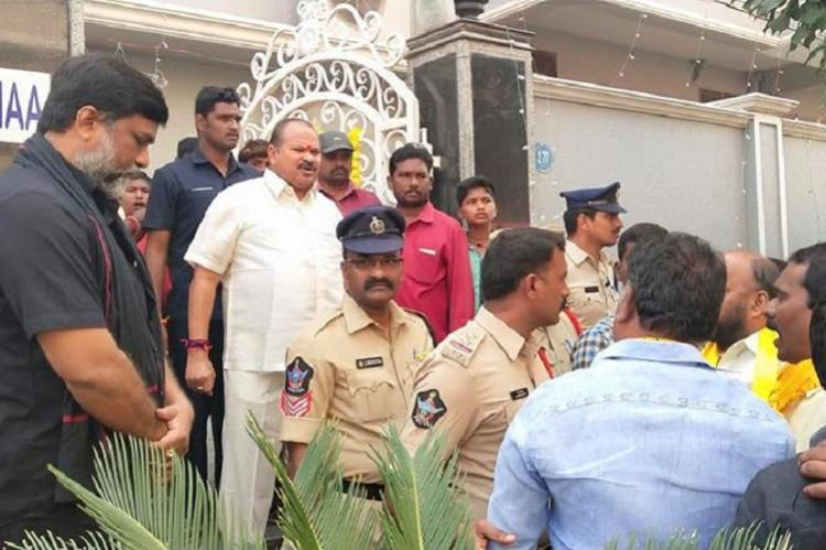 Tension in Guntur as TDP workers stage protest outside Andhra BJP chiefs residence