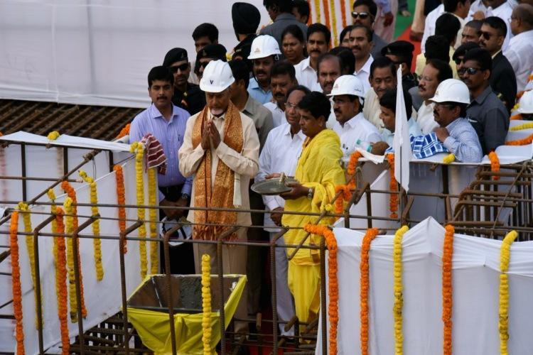 AP CM Chandrababu Naidu laid foundation stone for Secretariat