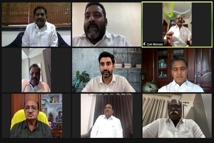 TDP leaders holding a mock Assembly on Zoom