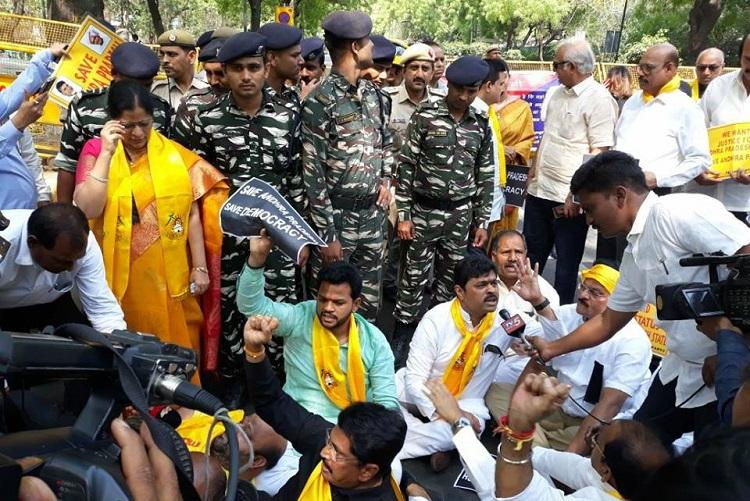 Andhra special status TDP MPs detained during protest outside PM Modis residence