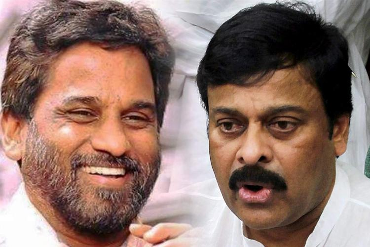 Late journalist TNR on the left and actor Chiranjeevi on the right.