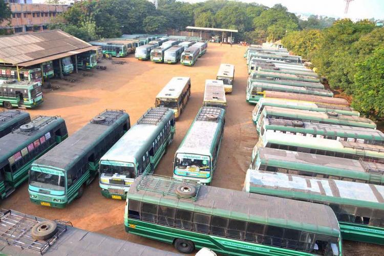 Buses at a depot