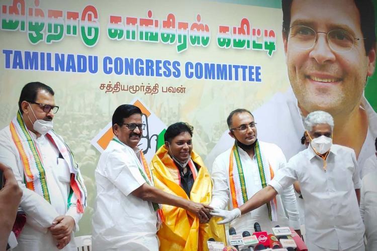 TN Congress stage with Sasikanth Senthil president KS Alagiri