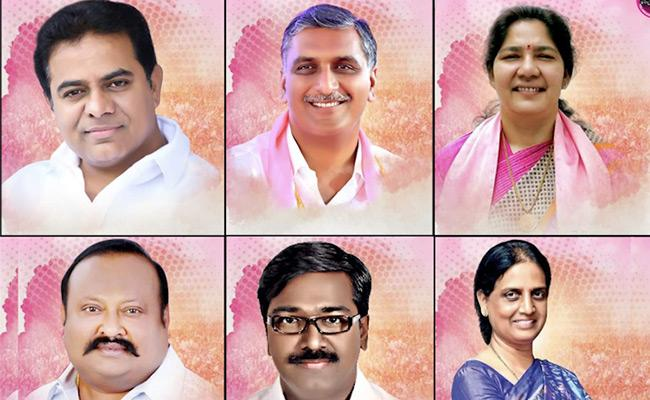 KCR inducts 6 ministers including 2 women Harish Rao gets Finance KTR retains IT